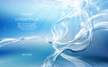 Light blue background with flows and drops of crystal clear water Royalty Free Stock Photo