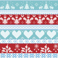 Light blue, blue, white and red Scandinavian Nordic Christmas seamless cross stitch pattern with angels, Xmas trees, rabbits, snow