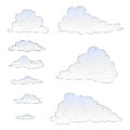 Light blue cloudy set illustration Royalty Free Stock Photos