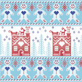 Light blue, dark blue and red Scandinavian Nordic Christmas seamless pattern with gingerbread man , stars, snowflakes, ginger hou