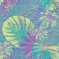 Light blue denim with colorful floral pattern. Beautiful exotic plants seamless background. Hand draw tropical leaf