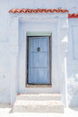 Light blue door in chefchouaen morocco entrance the picturesque village of north africa Stock Photography
