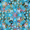 Light blue floral damask 3d seamless pattern. Vector ornamental