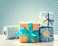 Light blue handmade present boxes Royalty Free Stock Photo