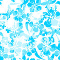 Light blue paint effect hibiscus seamless pattern Royalty Free Stock Photo