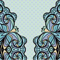 Light blue pattern with polka dot abstract ornamental left anf right borders against the background Stock Photos