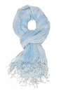It is a light blue scarf with fringe Stock Photo