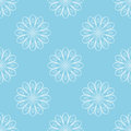 Light blue seamless background with white abstract flowers. Stylized floral pattern. Vector