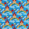 Light blue vector seamless pattern background wallpaper illustration with fairytale castle, colorful rainbow, blue clouds, prince
