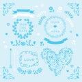 Light blue vector wedding invitation design element set Royalty Free Stock Photo