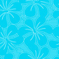Light blue and white hibiscus lines seamless pattern Royalty Free Stock Photo