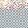Light bokeh and Heart of Valentines petals falling on transparent background. Flower petal in shape of heart confetti