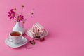 Light breakfast or lunch , cherry, berries and black tea on the Royalty Free Stock Photo