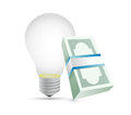 Light bulb and bills illustration design over a white background Royalty Free Stock Images