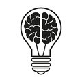 Light bulb with a brain icon. Vector illustration eps10 Royalty Free Stock Photo