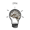 Light bulb brain idea hand drawn on white background
