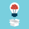 Light bulb with brain thinking outside the box Stock Photography