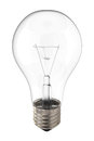 Light bulb bright clear incandescent electric glass with glowing lit filament and exposed electrical socket isolated on a white Stock Image