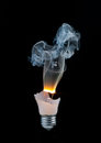 Light bulb burns out Stock Image