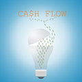 Light bulb and cash flow on blue background Stock Photos
