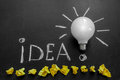 Light bulb on chalkboard with title idea!and crumpled yellow papers Royalty Free Stock Photo
