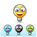 Light bulb character: Happy Stock Images