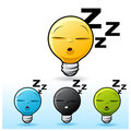 Light bulb character: Sleeping Royalty Free Stock Photos