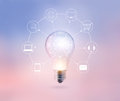 Light bulb circle global and icon customer network connection on pastel color background, Omni Channel or Multi channel Royalty Free Stock Photo