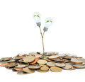 Light bulb and coin on the tree Stock Image