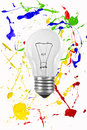Light bulb colorful painted background Stock Photo