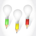 Light bulb colors pencil illustration design over a white background Stock Photo