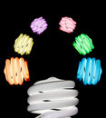 Light bulb of colourful idea with different colour Royalty Free Stock Photo