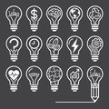 Light bulb concept line icons style vector illustration Stock Photos