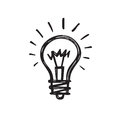 Light bulb - creative sketch draw vector illustration. Electric lamp logo sign