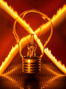 Light bulb with crossed fire trail Royalty Free Stock Photo