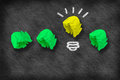 stock image of  Light bulb crumpled paper on blackboard - Idea Concept Background