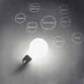 Light bulb d on business strategy background as vintage style concept Stock Photo