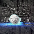 Light bulb 3d on business strategy on crumpled paper background Royalty Free Stock Photo