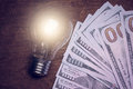 Light bulb with dollar Royalty Free Stock Photo
