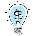 Light bulb with dollar symbol. Royalty Free Stock Image