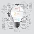 Light bulb doodles line drawing success strategy plan idea