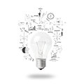 Light bulb with drawing business plan strategy concept idea isolated on white background Stock Photography