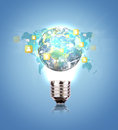 Light Bulb with earth of social network Royalty Free Stock Photo