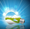 Light bulb ecological concept in illustration vector Royalty Free Stock Photography