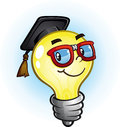 Light bulb education cartoon character a nerdy wearing thick rim glasses and a graduation cap Stock Photos