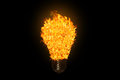 Light bulb with fire isolated on black background Royalty Free Stock Images