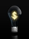 Light bulb with glowing dollar sign inside Royalty Free Stock Image