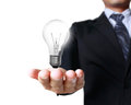 Light bulb in a hand Royalty Free Stock Photo