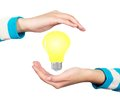 Light bulb hand Royalty Free Stock Photography
