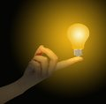 Light bulb hand Royalty Free Stock Image